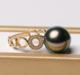 北海珍珠天然海水珍珠大溪地黑珍珠 女士款18K金大溪地黑珍珠戒指花开富贵