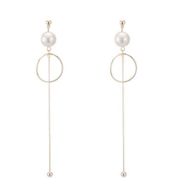韩国chic珍珠几何长款小圆环显脸瘦饰品吊坠简约无耳洞耳夹女