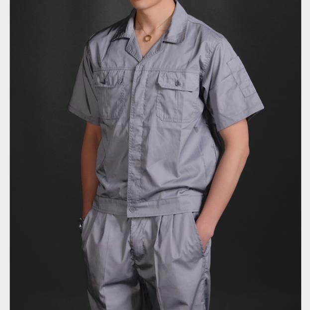 供应 2305涤棉细斜纹工作服 夏季工装 上衣男女