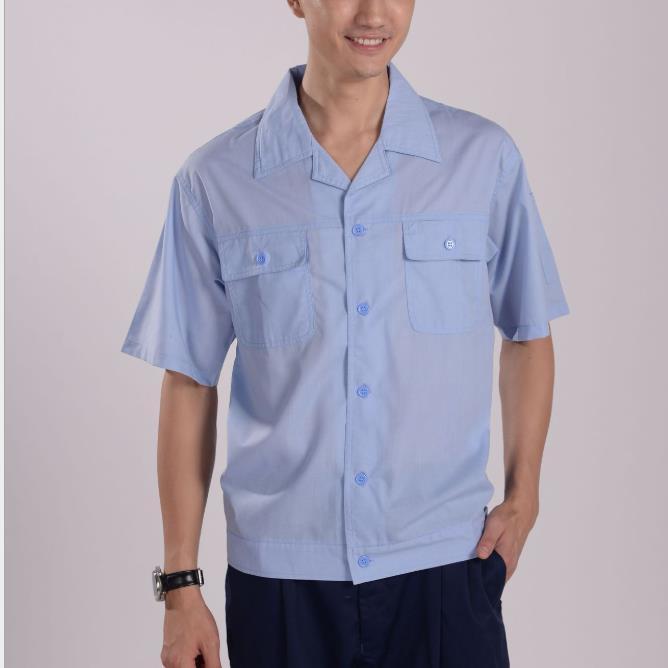 供应 2502涤棉水洗府绸 上衣工作服 制服 普通工装夏装