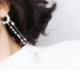 韓版S925銀針 珍珠鏈條流甦吊墜星星月亮長款不對稱耳釘耳環