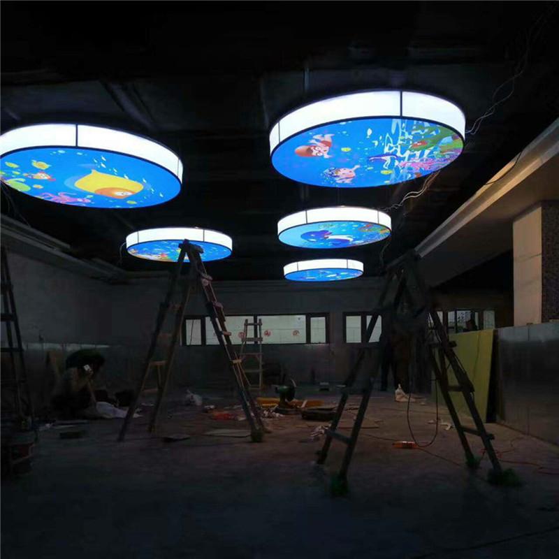 淄博钢结构环保软膜天花吊顶材料 透光膜彩绘膜柔性发光膜 天花照明