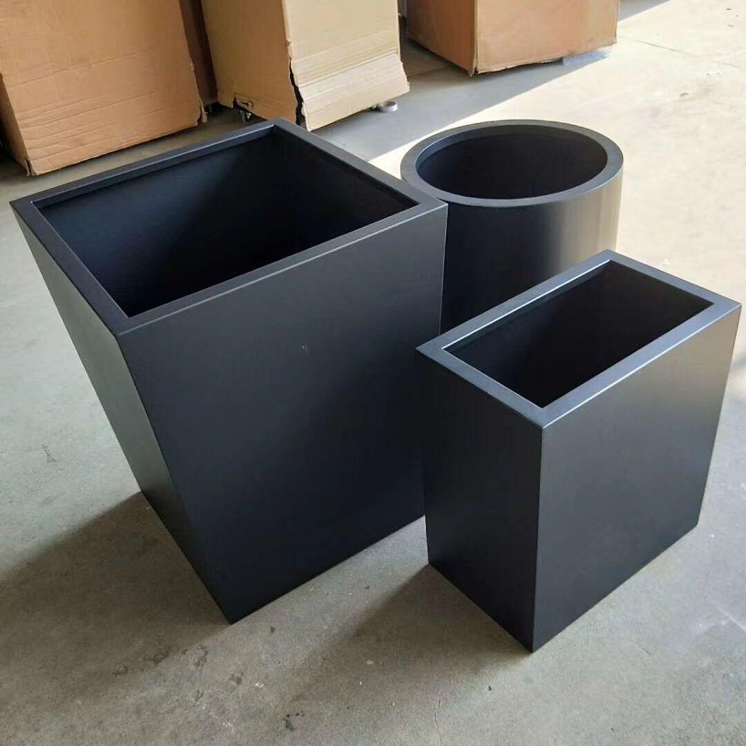 黑色烤漆组合花箱 定做不锈钢户外花盆 商场装饰花盆定制