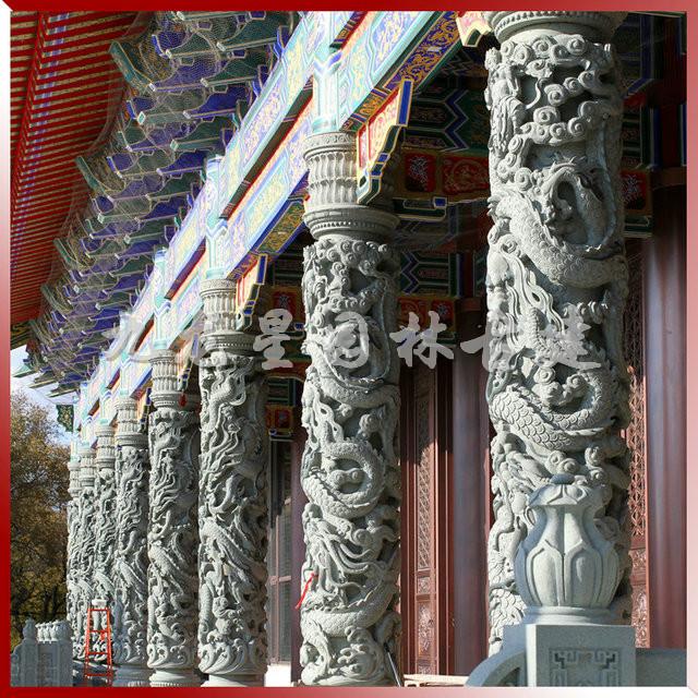 石材龙柱雕刻 石雕盘龙柱 寺庙石雕龙柱加工