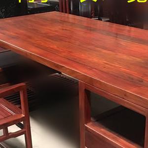 赞比亚血檀办公桌 红木书案 非洲小叶子紫檀办公桌 红木椅子