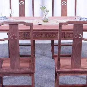 赞比亚血檀餐桌七件套 实木家具 红木家具