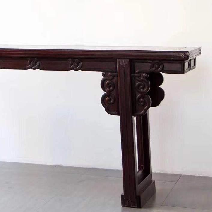 赞比亚血檀雕藤纹平头案 红木家具