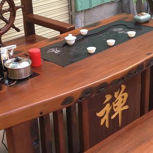 老船木客厅阳台茶几家用型茶桌实木古船木功夫泡茶台桌椅组合家具