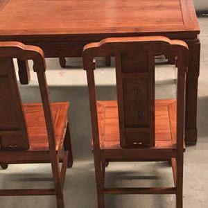 非洲花梨木餐桌七件套 新中式实木家具 张家港家具