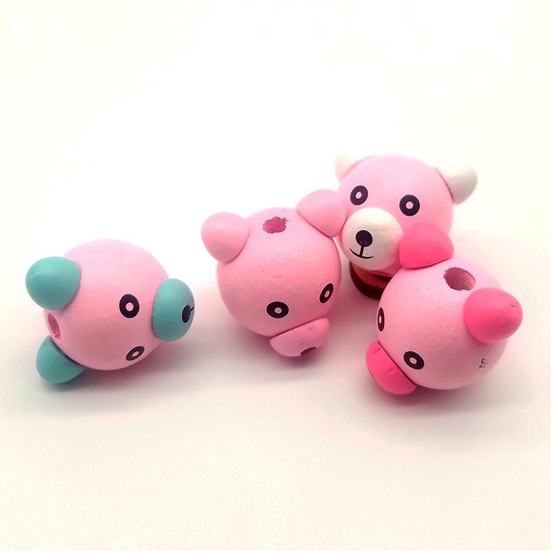 供应 DIY儿童饰品配件 可爱立体小熊头木珠