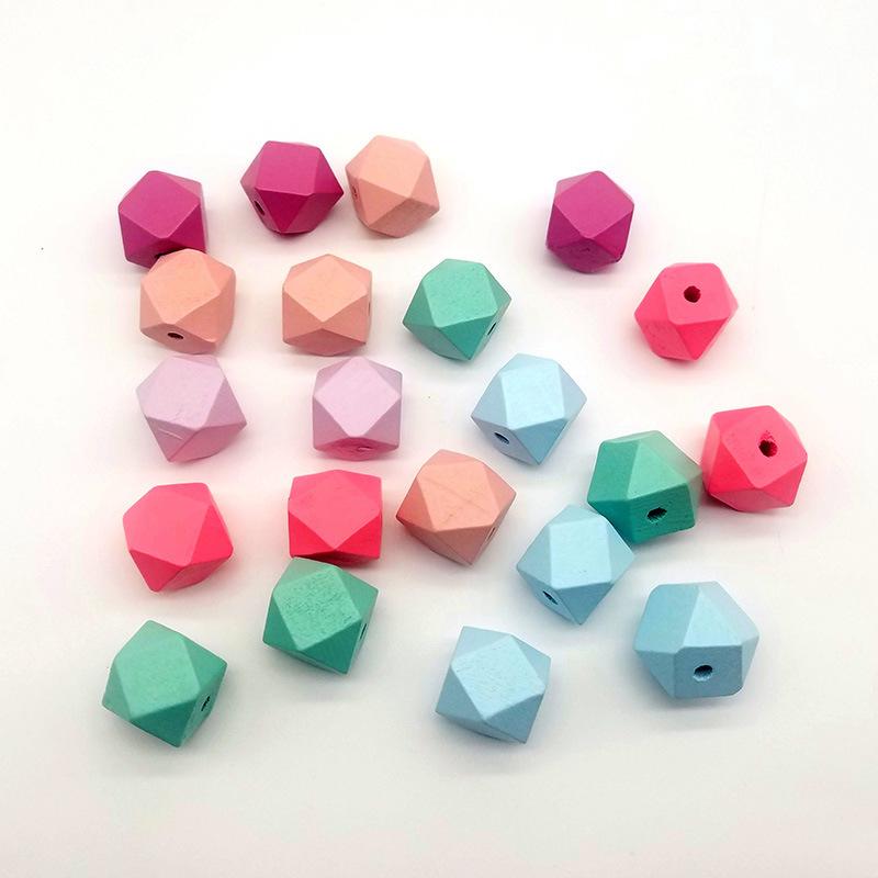 供应   DIY饰品配件15-20mm几何切面八角木珠