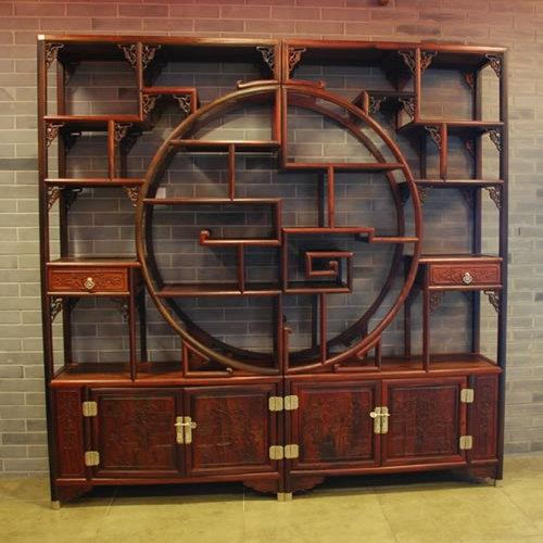 博古架多宝格厂家生产效果图片_中式现代博古架客厅摆放