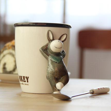 供应 3D立体动物陶瓷马克杯子带盖勺