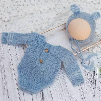 新生兒攝影道具服裝針織長袖衣套裝拍照影樓寶寶攝影道具