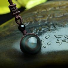 供应 彩眼黑曜石单珠吊坠 天然水晶转运珠项链