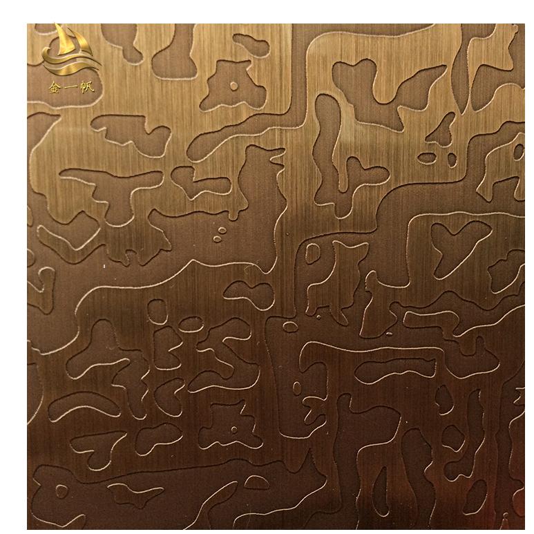 红古铜不锈钢蚀刻板 红古铜电梯装饰板 酒店不锈钢电梯板工程