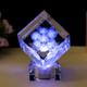 供应 爱心水晶玫瑰工艺品 水晶内雕 方体导角水晶内雕加音乐底座
