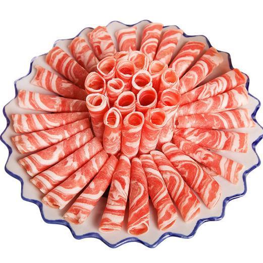 供应 新西兰羔羊肉片 500g每袋 羊排肉卷 火锅食材