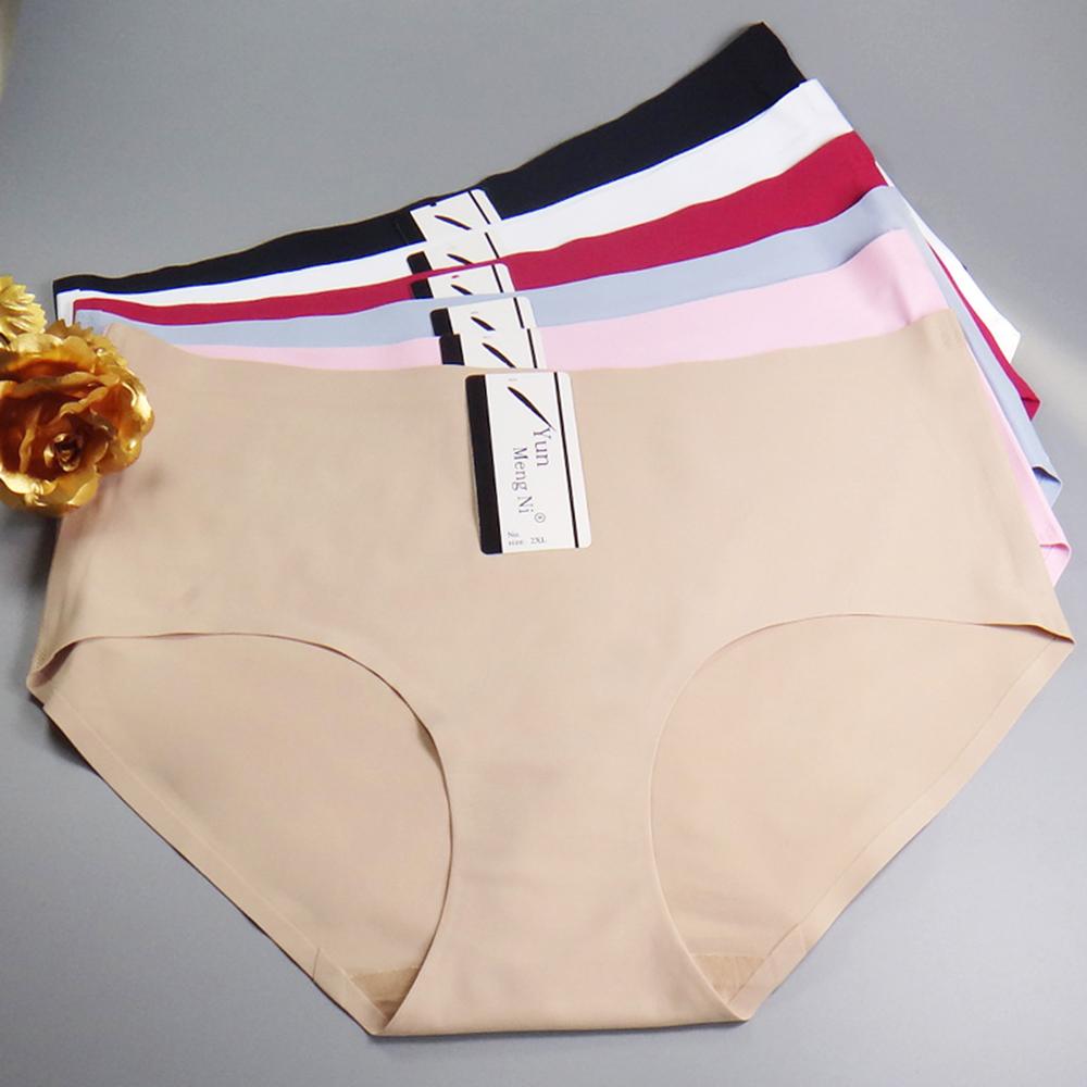 云梦妮外贸加大码4XL冰丝无痕女式内裤 速卖通一片式女士三角裤南美智利巴拿马塞内加尔女士内裤
