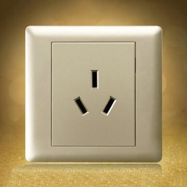 开关插座 5孔金色墙壁电源家用插座