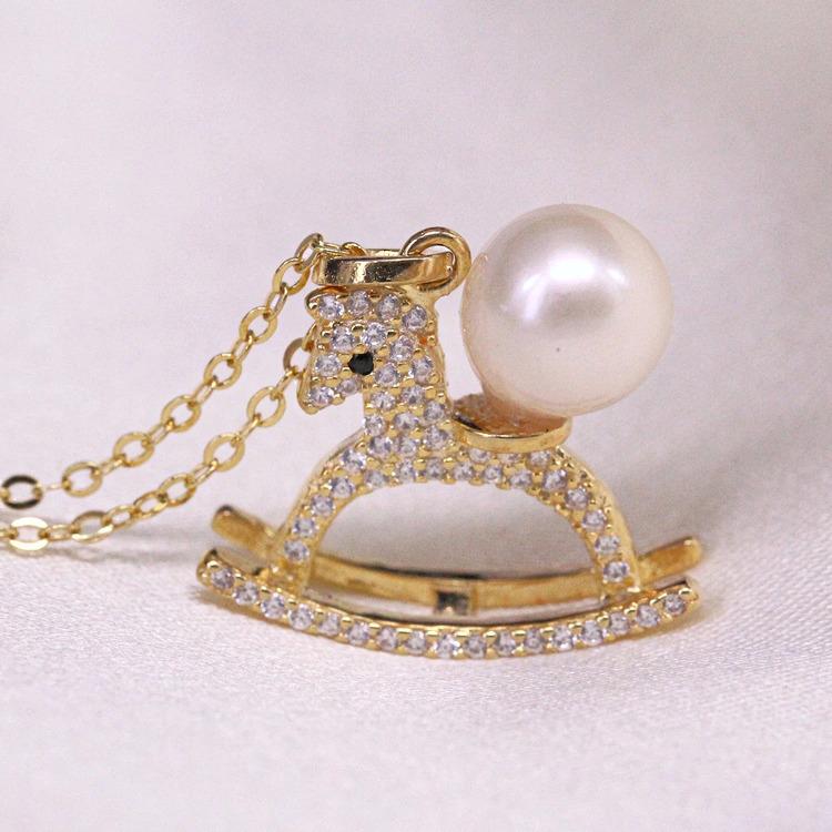 80500236-东园珠宝 时尚海水珍珠项链 925银木马造型 7mm