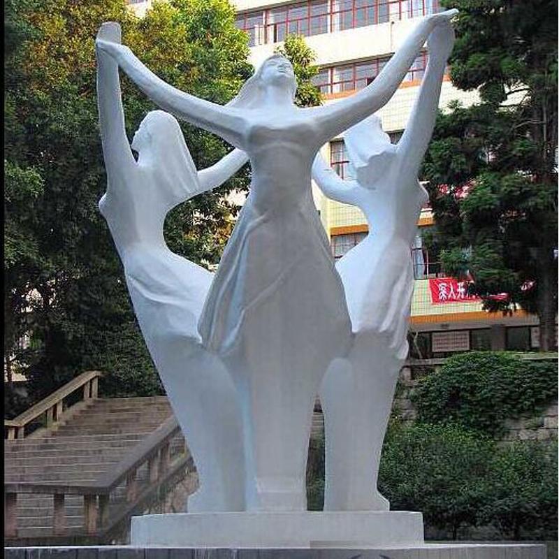 天然石材 校园文化主题雕塑 舞蹈生跳舞人物雕塑 公园校园景观 艺术生雕塑