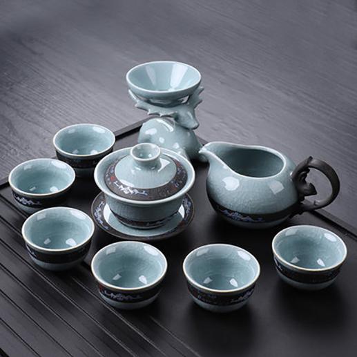 供應茶具套裝汝窯家用整套復古開片釉功夫陶瓷泡茶杯LOGO定制禮品