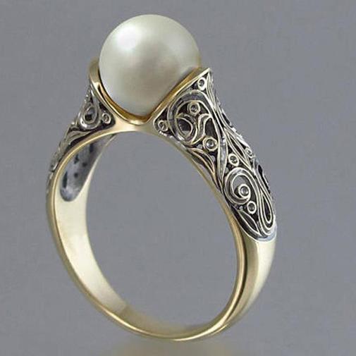 供应进口人造ABS珍珠戒指 镀14k黄金复古银饰品