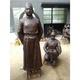 仿古色铜缸 铸铁古代人物雕塑 小型济公铜佛像