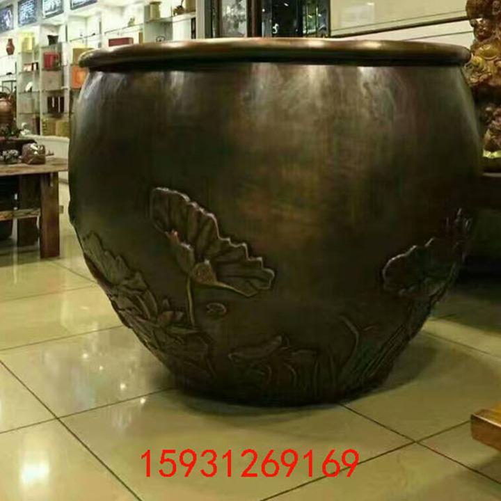 荷花铜缸雕塑 铸铜厂家定做水缸 故宫仿古同雕塑招财摆放