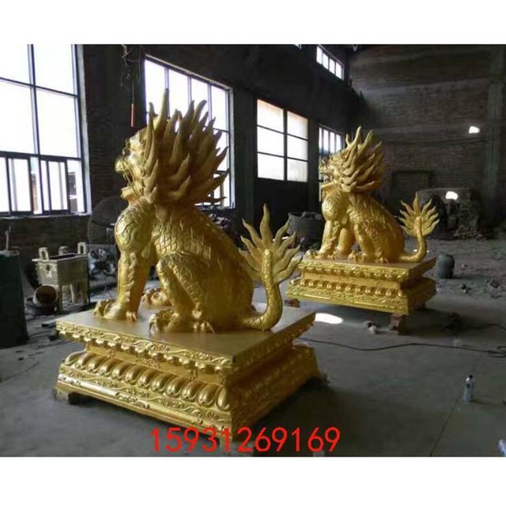 黄铜铸造大型铜麒麟 铜貔貅 仿古瑞兽祈福酒店门口摆件