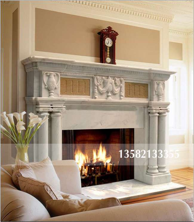 大理石罗马柱壁炉,真火壁炉定做,欧式别墅壁炉