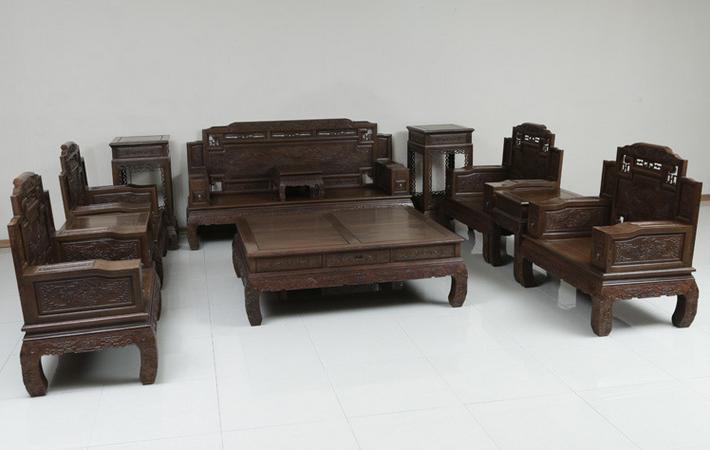 鸡翅木实木中式客厅沙发11件套